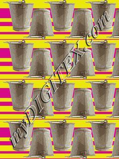 metal bucket 2 stripes yellow