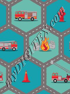 Fire Engine Fabric -Roading Hex Diagonal
