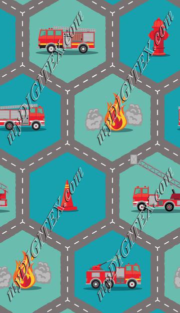 Fire Engine Fabric -Roading Hex Diagonal