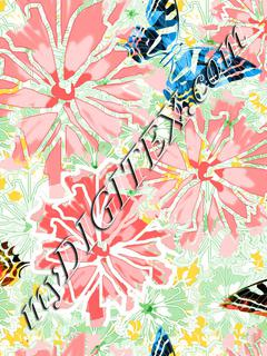 Pink floral butterfly