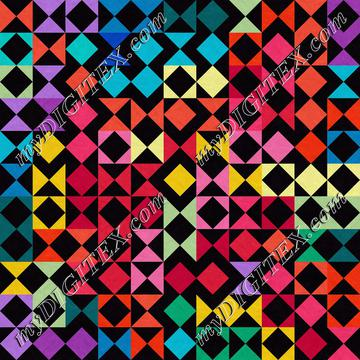 Colorful shapes on a black background