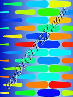 Colorful shapes on a blue background