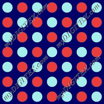 turqouise  and coral polka dots