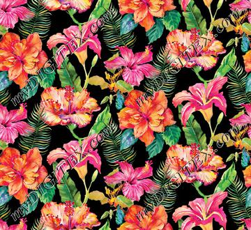 Hibiscus Holiday Floral - Black