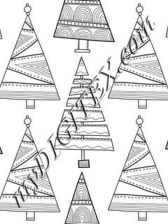 Funky Christmas Trees Coloring