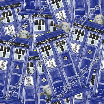 Watercolor TARDIS + Adipose