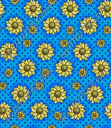 Cheery Sunflowers - Blue
