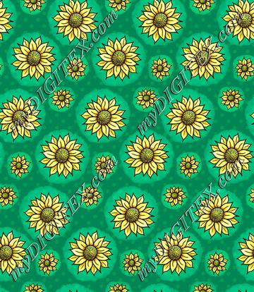 Cheery Sunflowers - Green