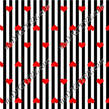 black and white striped with red hearts