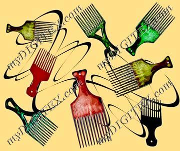 Afro comb-beige