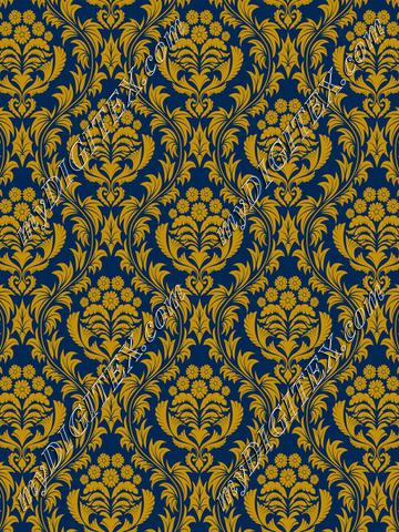 Mountaineer Damask (gold on blue)