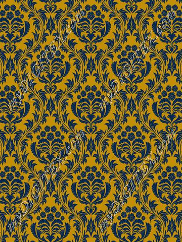 Mountaineer Damask (blue on gold)
