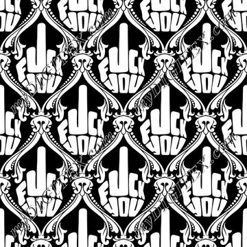 FU Damask (white on black)