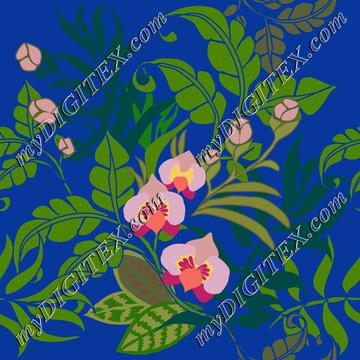 tropical leaves and flowers on royal blue