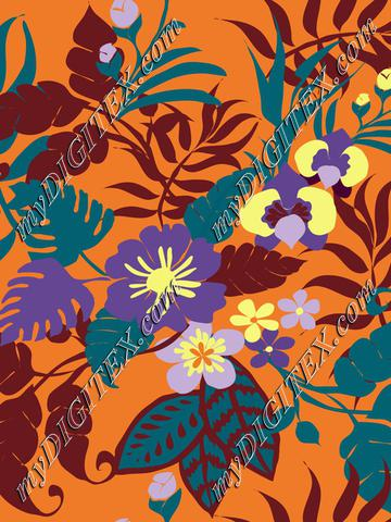 tropical plants on orange