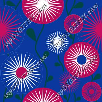 retro flowers royal blue white pink