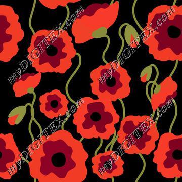 Poppyflowers on black, poppy fields