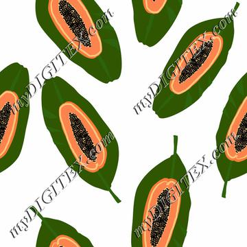 papaya tropical fuit on white