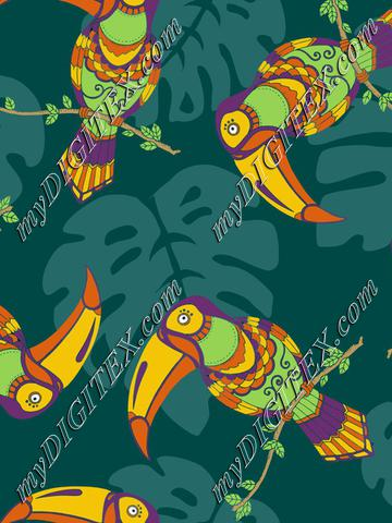 Toucans, tropical exotic birds