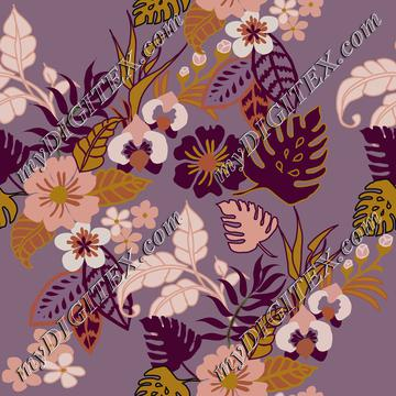 Magical jungle Tropical flowers on purple