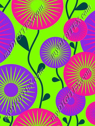 Retro flowers neon colors