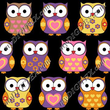 Cute owls on black