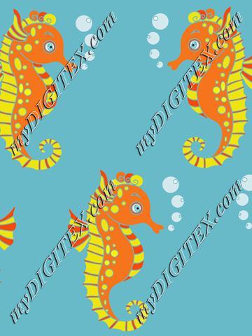 Seahorses ocean kids pattern