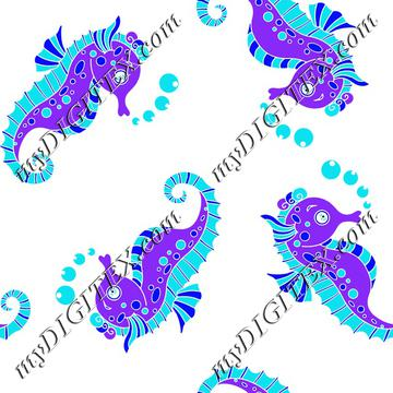 Seahorses ocean blue