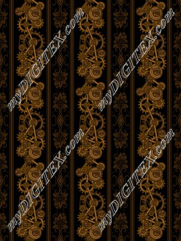 Steampunk Damask Stripes (on black)