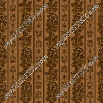 Steampunk Damask Stripes (on tan)