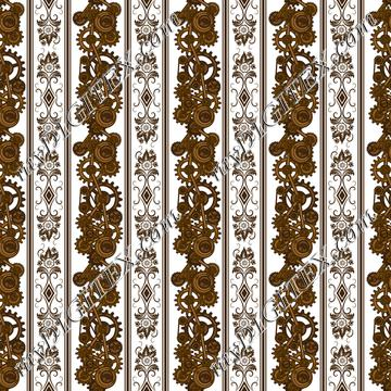 Steampunk Damask Stripes (on white)