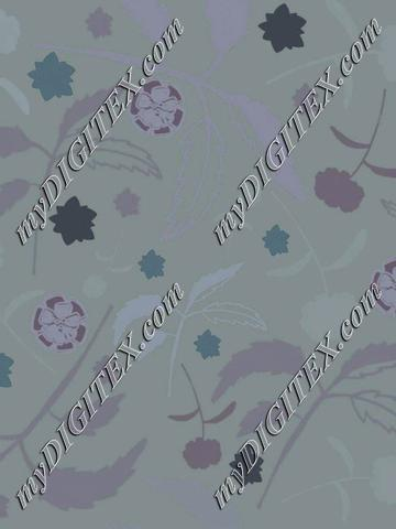 Floral with leaves in blue