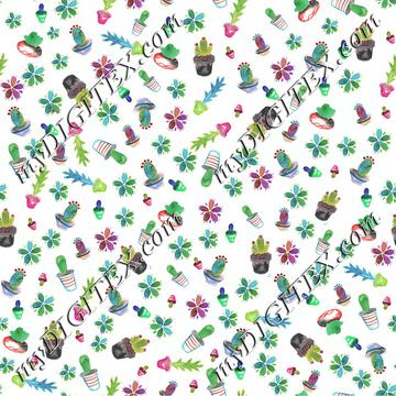 Watercolor Cactus Repeating Pattern flattened