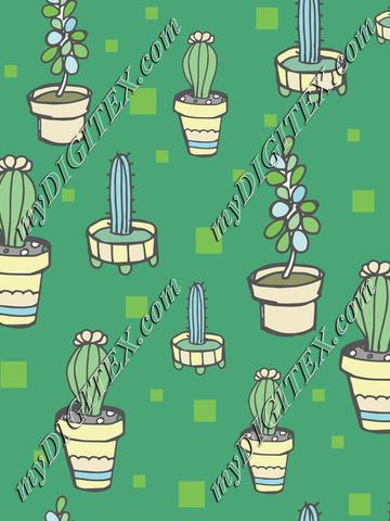 Succulents Vector Pattern teals and blues