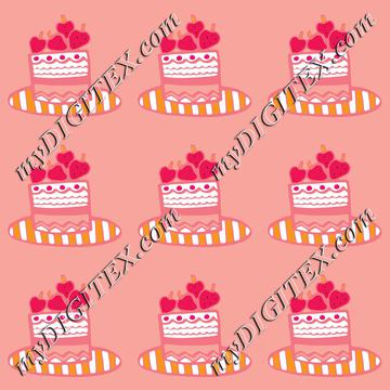 cake with strawberries in pink repeat