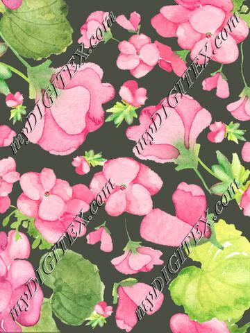 Geranium pattern bright pink with dark background