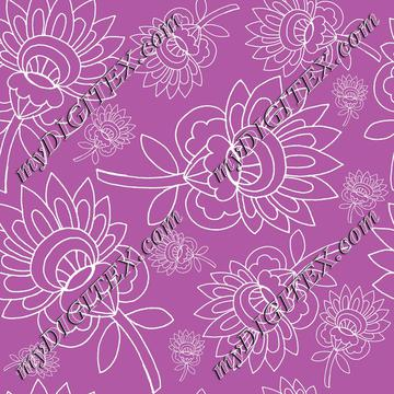 purple background white floral hand drawn