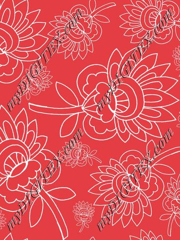 red background white floral hand drawn