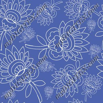 royal blue background white floral hand drawn