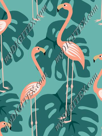 Pink flamingoes and tropical leaves