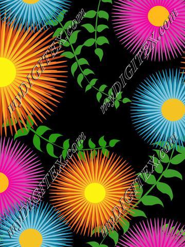 Colorful retro blooms