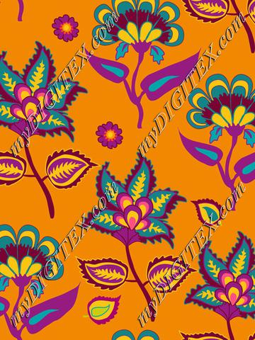 Indian Kalamkari on Orange