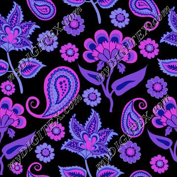 Oriental Indian Kalamkari Pasley purple on black