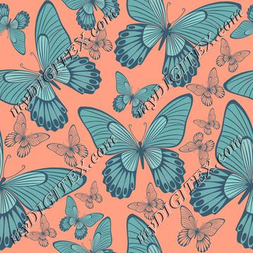 Turqouse butterflies on coral color