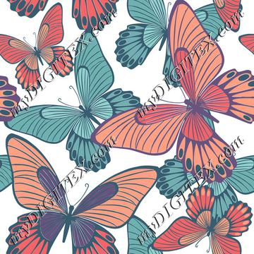 Butterflies Coral Turqoise on white