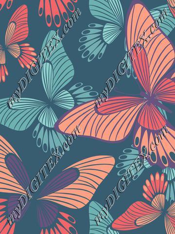 Coral butterflies on quezal green l
