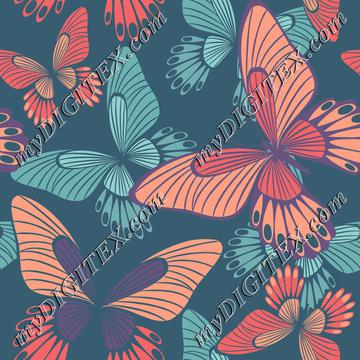 Coral butterflies on quezal green l