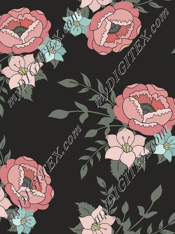 Romantic pink floral on dark
