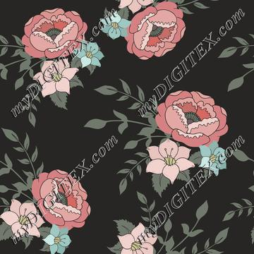 Romantic pink floral on dark