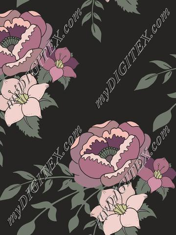 Romantic English Home purple floral on dark